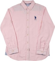 US Polo Kids Boys Solid Casual Pink Shirt