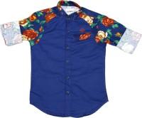 OKS Boys Boys Printed Casual Dark Blue Shirt