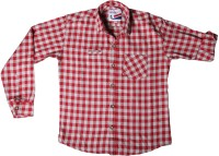 Little Man Boys Checkered Casual Red Shirt