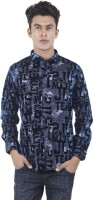 EdenElliot Mens Printed Casual Black, Blue Shirt