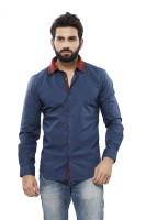 Turtle Mens Solid Casual Dark Blue Shirt