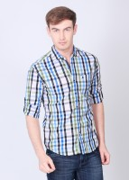 The Indian Garage Co. Mens Checkered Casual Blue, White Shirt