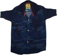 Kidzee Boys Self Design Casual Blue Shirt