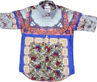 OKS Boys Boys Printed Casual White, Blue Shirt