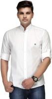 Macoro Mens Solid Casual White Shirt