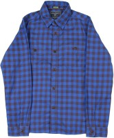 Indian Terrain Boys Checkered Casual Black, Blue Shirt