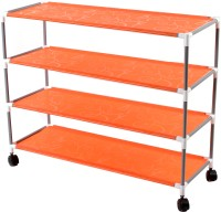 View Pearl 4 Layers Shoe Rack Small Structure Metal Collapsible Shoe Stand(Orange) Furniture