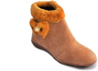 Myra Party Wear Boots(Tan)