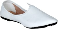 Panahi White Synthetic Leather Slip On Jutis Casuals For Men(White)