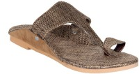 Panahi Brown Jute Rubber Slip On Kolhapuris Casuals For Men(Brown)