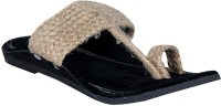 Panahi Brown Jute Velvet Slip On Kolhapuris Casuals For Men(Brown)
