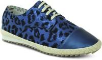 Get Glamr Designer Lace Ups Canvas Shoes For Women(Blue)