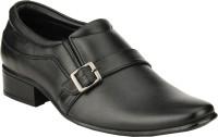 GAI Black Leather Formal Slip On Shoes For Men(Black)