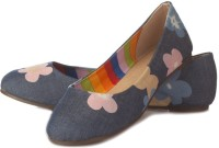 Vero Couture Floral Printed Canvas Bellies For Women(Blue)