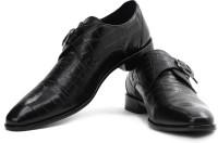 Louis Philippe Monk Strap Shoes For Men(Black)