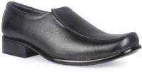 Leather King Adam Black Slip On For Men(Black)
