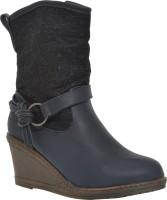 Pinza Blue Cowboy Boots For Women(Blue, Black)