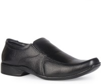 Leather King Fred Black Slip On For Men(Black)