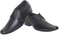 Azzaro Black Genuine Leather Hippy Lace Up Shoes For Men(Black)