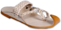 Panahi Beige Colour Leather Men Ethnic Wear Slip On Kolhapuris Party Wear For Men(Beige)