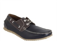 Gato Stylish Navy Blue n Brown Loafers(Navy)