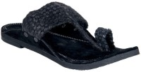 Panahi Black Jute Velvet Slip On Kolhapuris Casuals For Men(Black)