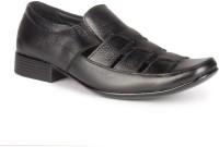 Leather King Collins Black Slip On For Men(Black)