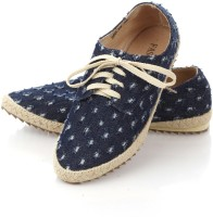fascino Sequinned Glossy Canvas Shoes For Women(Blue)