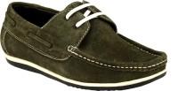 GAI Olive Leather Loafers For Men(Olive)