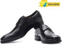 Johnston & Murphy Tyndall Monk Genuine Leather Monk Strap Shoes For Men(Black)