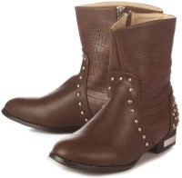 Vero Couture Croc Panelled High Ankle Boots For Women(Brown)
