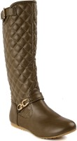 Flat n Heels Boots For Women(Khaki)