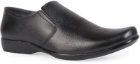 Leather King Max Black Slip On For Men(Black)