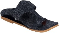 Panahi Grey Jute Rubber Slip On Kolhapuris Casuals For Men(Grey)