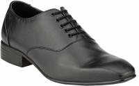 GAI Black Leather Formal Oxford Lace Up Shoes For Men(Black)