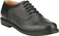 GAI Black Leather Formal Brogue Lace Up Shoes For Men(Black)