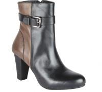 Salt N Pepper 14-349 Fancy Black Seal Boots Boots For Women(Brown, Black)