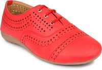 Regania Synthetic Leather Lace-Up Canvas Sneaker Shoes/ Footwear Partywear/ Casualwear For Women / Ladies / Girls Outdoors, Casuals, Sneakers(Red)