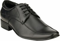 GAI Black Leather Formal Derby Lace Up Shoes For Men(Black)