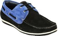 GAI Black Leather Loafers For Men(Black)