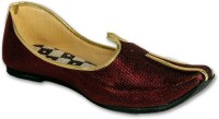 Panahi Red Colour Synthetic Leather Men Ethnic Wear Slip On Jutis Party Wear For Men(Red)