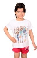 Tiny Toon Printed Girls Round Neck White T-Shirt