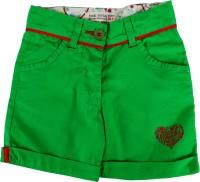 Yazhi Short For Girls Cotton Linen Blend, Cotton Nylon Blend, Cotton Linen Blend(Green)