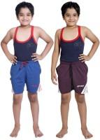 Red Ring Short For Boys Self Design Cotton Linen Blend, Nylon Blend(Blue, Pack of 2)