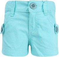 Dreamszone Short For Girls Cotton Linen Blend, Cotton Nylon Blend, Cotton Linen Blend(Blue)