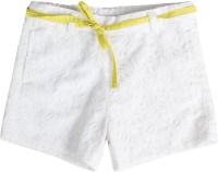 Buttercups Short For Girls Cotton Linen Blend, Cotton Nylon Blend, Cotton Linen Blend(White, Pack of 1)