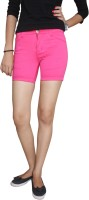 Fungus Solid Women's Pink Denim Shorts