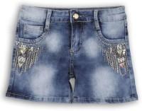Lilliput Short For Girls Solid Cotton Linen Blend, Cotton Nylon Blend, Cotton Linen Blend(Blue)