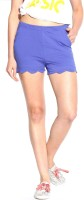 Espresso Solid Women's Blue Basic Shorts