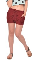 Vvoguish Self Design Womens Maroon Basic Shorts